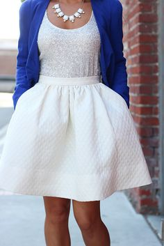 Cobalt Blue & Flare Skirt-7 by Stylish Petite, via Flickr