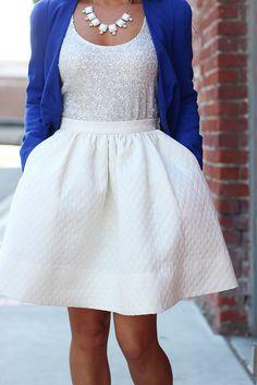 Cobalt Blue & Flare Skirt-7 by Stylish Petite, via Flickr