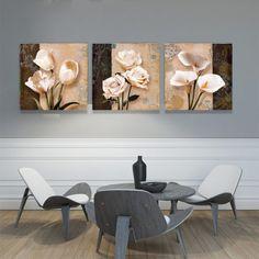 Cuadros de Flores. 3 Piezas Living Comedor, Painting, Ideas, Frames, Home, Painting Vases, Canvases, Color Tones, Bold Colors