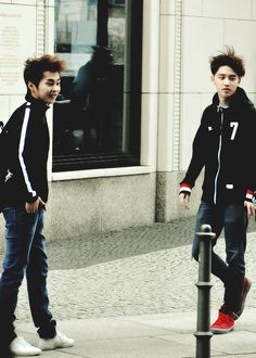 Xiumin and D.O with their messy hair