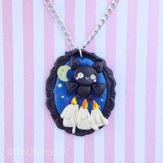 Halloween Kawaii Bat Necklace - Chain - Mold for Cameo - Polymer Clay