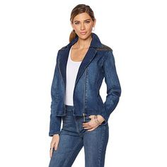 DG2 by Diane Gilman Denim Jeweled Moto Jacket