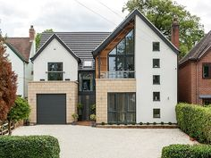 PD Architecture - Nottingham and Leicester Black Exterior Doors, Interior Exterior, Exterior Design, Bungalow Conversion Before And After, Modern Garage Doors, Country Modern Home, House Extension Design, Extension Ideas, Dream House Exterior