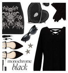 """""""Mission Monochrome:  All Black"""" by juliehooper ❤ liked on Polyvore featuring Miss Selfridge, Philipp Plein, Topshop, AGNELLE, London Road, Lancôme, NYX, Givenchy, polyvoreeditorial and allblackoutfit"""