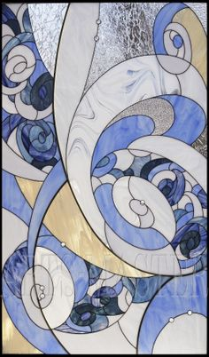 """Stained glass window in the style of """"Art Deco""""."""