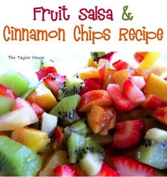 Fruit Salsa with Cinnamon Chips Recipe! {SO yummy!} #fruit #recipes