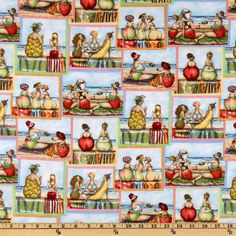 Designed by Mary Stewart for Elizabeth's Studio, this cotton print fabric features ladies with fruit bodies at the beach and is perfect for quilt or craft projects, apparel and home décor accents. Colors include green, red, brown and yellow. Blue Yellow, Blue Brown, Green, Wall Design, Fabric Design, Printing On Fabric, Craft Projects, Quilts, Fruit
