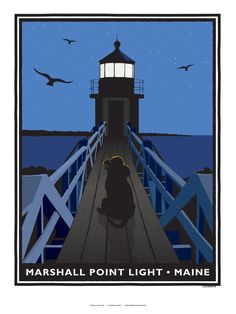 Robert Cochran Art — Marshall Point Light with Sea Dog • Reproduction Poster