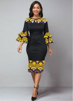 Tribal Print Flare Sleeve Keyhole Neckline Dress Buy it Now :D Best African Dresses, Latest African Fashion Dresses, African Print Dresses, African Print Fashion, African Attire, African Style Clothing, Modern African Fashion, Ankara Fashion, African Men