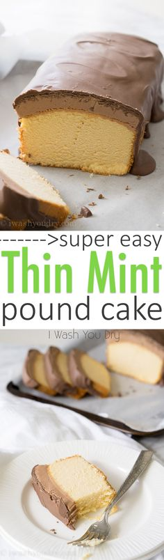 Super Easy Thin Mint Pound Cake!! Takes just 10 minutes to make and tastes SOOO good! Definitely making this one again!