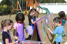 Giant cardboard easel.  Also links to ideas for an artist birthday party