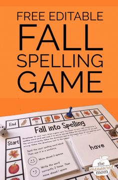 Grab this free editable fall spelling game - perfect for kids in grades Use with any list! Reading Fluency Games, Fluency Activities, Literacy Games, Spelling Activities, Listening Activities, Vocabulary Games, Vocabulary Strategies, Learning Activities, Free Spelling Games