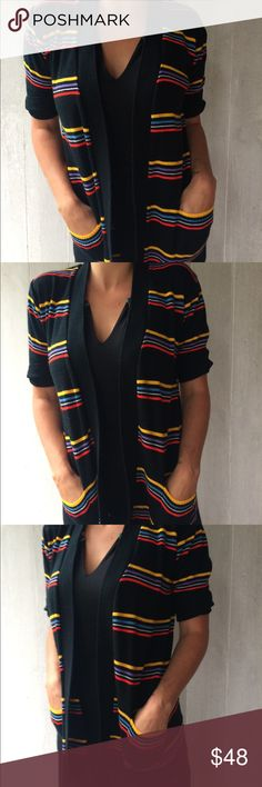 1970s/1980s Hip Length Black Stripe Sweater This is a tight knit well made vintage sweater . Button down cardigan . The color way is fantastic and vibrant. Totally early 80s . Love the chic but cozy vibe it throws out to the universe #defeatfastfashion Vintage Sweaters Cardigans