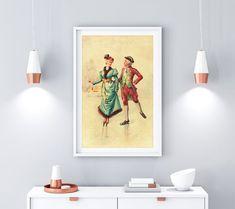Ice Skaters, Couple Illustration, International Paper Sizes, Light Effect, Botanical Prints, Original Image, Printable Wall Art, Skating, Wall Decor