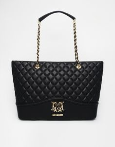 Love Moschino Large Quilted Shopper Bag in Black