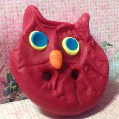 Hoot Hoot Handmade Polymer Clay Owl Button/Bead Focal by rosebud101 on Etsy