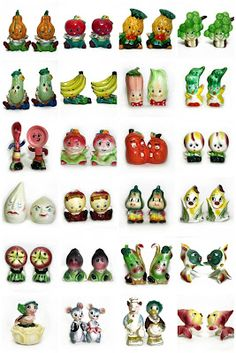 Anthropomorphic Salt & Pepper Shakers from - Vintage Dishware, Vintage Dinnerware, Vintage Kitchen, Kitsch, Flea Market Finds, Flea Markets, Salt And Pepper Set, Antique Stores, Salt Pepper Shakers