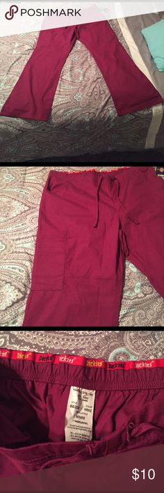 Scrub pants Burgundy scrub pants. Perfect if you work in the medical field!🌡💉🏩🚑💊 Brand New with tags!!! Had 2 but 1 sold so 1 pant left! Has 1 leg/thigh pocket, 1 pocket on the back and also a pocket on each side of waist. 🎉 I offer 10% off if you bundle 2 or more items!🎉 Dickies Other