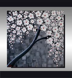 ORIGINAL Textured Art, Contemporary, Black and White Cherry Blossom Tree Painting, Home decor, Landscape, Ready to hang 24x24 Artwork by ZarasShop, $199.00