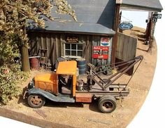Red Oak Services Station 1/48 Scale Model Diorama
