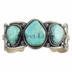 Sterling Silver Turquoise Bracelet Navajo Gilbert Tom