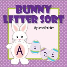 Easter Bunny ABC matching activity for preschool, pre-k, and busy bags