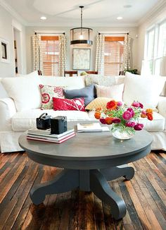 Love the aged floors and painted table.