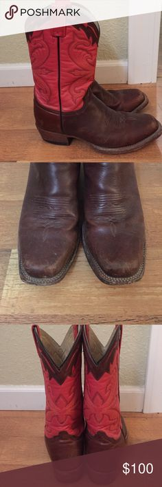 Stetson cowboy boots Red and brown. Stetson Shoes Winter & Rain Boots