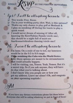 Couple's clever wedding RSVP card goes viral - Katie Kerr and Chris Sabino : nydailynews