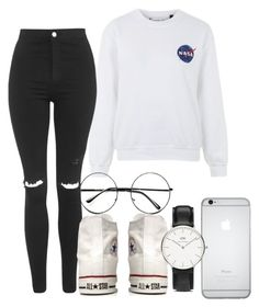 """ngt"" by kabangisan ❤ liked on Polyvore featuring Topshop, Retrò, Converse and Daniel Wellington"