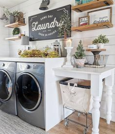 Who says that having a small laundry room is a bad thing? These smart small laundry room design ideas will prove them wrong. Laundry Room Remodel, Laundry Room Shelves, Laundry Room Cabinets, Laundry Room Organization, Diy Cabinets, Organization Ideas, Storage Ideas, Laundry Table, Laundry Area