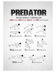 PRE TEST: As my goal is to be able to do 5 sets of the Niel Arey workouts without sacrificing my form. My pretest is the first time I tried one of these workouts. The first one I did was an unmodified predator workout. I was able to complete 2 complete reps in 10 minutes. I had to take long rests between each rep, and could tell that my form was deteriorating,