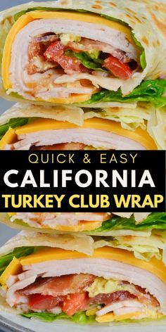 This California Turkey Club Wrap is packed with fresh vegetables deli turkey and crispy bacon! The perfect easy wrap recipe! Good Healthy Recipes, Healthy Meal Prep, Healthy Eating, Quick Lunch Recipes, Healthy Wraps, Easy Wrap Recipes, Quick Easy Lunch Ideas, Healthy Tortilla Wraps, Light Lunch Ideas