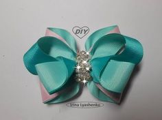 Rep Ribbon Bow / Bow grosgrain ribbon / Arco fita do grosgrain / Tutorial / MK / DIY / PAP # 90 Diy Hair Bows, Making Hair Bows, Ribbon Hair Bows, Ribbon Art, Diy Ribbon, Ribbon Crafts, Grosgrain Ribbon, Satin Ribbons, Fabric Bows