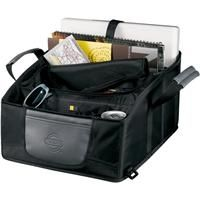 "Case Logic Front Seat Mobile Office    Front compartments for a variety of electronics and office tools. File and folder sleeves. Special pocket for holding up to a 15"" laptop. Zippered pocket for storing personal items.     Product code: 8150-10  Qty:	36-99	100-149	150-249	250-399	400+  ea.	$39.82	$38.20	$33.25	$29.15"