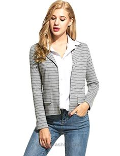 ANGVNS Womens Blazer Simple Stripe Casual Suits Business Party Fashion Jackets (Grey / Small)  BUY NOW     $28.99    Occasion: Casual, outdoor, formal, party and other a variety of occasions.    This is our size chart for your reference: Inch    Size Measurement:    Small:—–Shoul ..