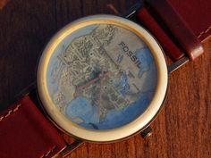 Ultra RARE Men's Fossil Stone Rock Globe Map Watch BW 6729 USA Mexico Canada | eBay