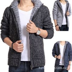 Free Shipping ! New 2013 Winter Fashion Men's Plush Liner Thick Knitted Men Wool Fleece Slim Fit Casual Mens Cardigan Sweater US $36.99