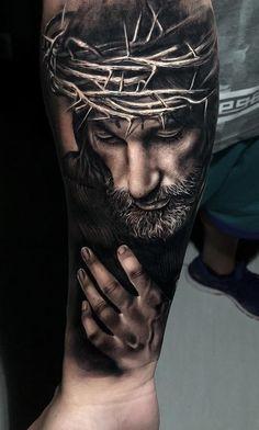 20 tattoos of holy Jesus - Tattoo Trends 2019 Jesus Tattoo Sleeve, Religious Tattoo Sleeves, Arm Sleeve Tattoos, Jesus Tatoo, Forarm Tattoos, Forearm Tattoo Men, Body Art Tattoos, Holy Tattoos, Christus Tattoo