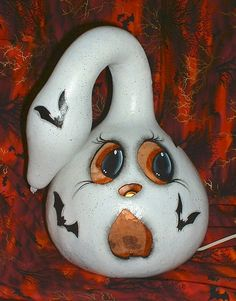 ghost+painted+gourds | Ghost LightUp Gourd Hand Painted by FromGramsHouse on Etsy