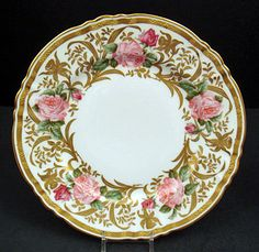 Antique Pair of Ahrenfeldt Limoges Plates with Roses