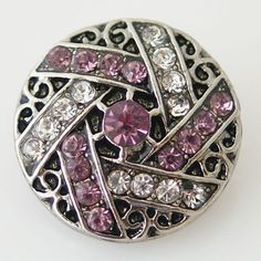 1 PC 18MM Pink Rhinestone Silver Candy Snap Charm KB8724 CC0615