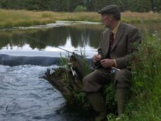 Scotland - never understood why a tie and jacket is a good idea when fishing. Perhaps it was to signal you were not a poacher ? One helluva motivation to fish without getting wet?
