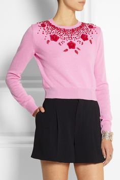 MIU MIU Embellished Cashmere Sweater  Miu Miu's pink sweater has been embellished with red beads and sequins that form a pretty floral motif.