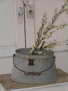 unusual shaped galvanized bucket - thank you! @Wanda Crane