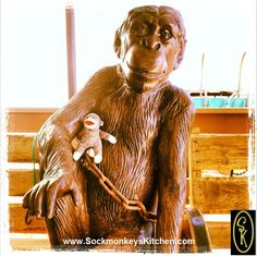 Nigel didn't want to leave his new friend. #HappyMonkey Click the pic for all of the #Sockmonkey photos