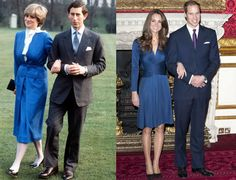 I much prefer Catherine's engagement dress over Diana's.  It is amazing to look back and see how much weight Diana lost by the time she married Charles.  - Diana and Charles announce their engagement in February 1981; Kate and William announce their engagement in November 2010.