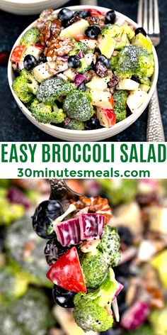 Broccoli Salad will be the star of your next cookout! #broccolisalad #salad #blueberry #appetizer #sidedish #30minutesmeals