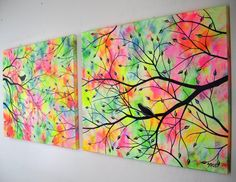 Large Abstract Love Birds in Trees Acrylic por jmichaelpaintings