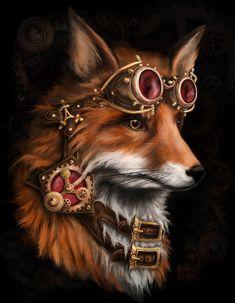 steampunk fox by kitsu-aseru.deviantart.com on @deviantART